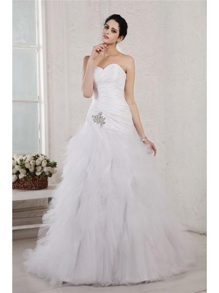 Princesa/Formato A Coração Sem Mangas Appliques Longa Tafetá Malha Vestidos de Noiva