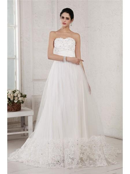 Princesa/Formato A Coração Sem Mangas Missangas Appliques Longa Malha Vestidos de Noiva