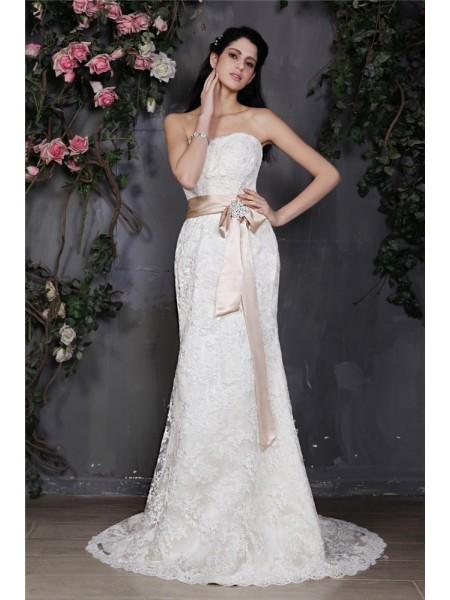 Bainha/Coluna Sem Alça Sem Mangas Sash Longa Renda Vestidos de Noiva