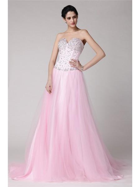 Princesa/Formato A Coração Sem Mangas Missangas Longa Cetim Esticado Malha Vestidos