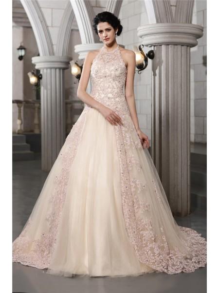 Princesa/Formato A Com gola alta Sem Mangas Missangas Appliques Longa Malha Vestidos de Noiva