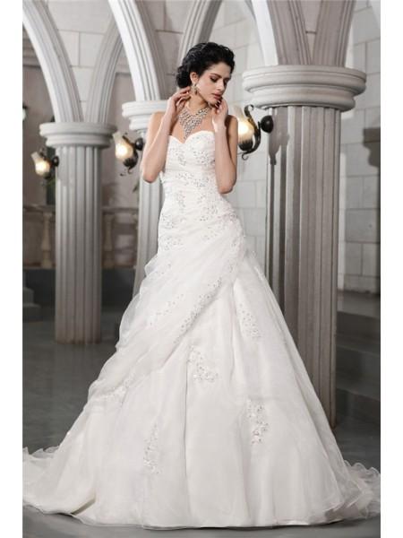 Princesa/Formato A Coração Sem Mangas Missangas Appliques Longa Organza Vestidos de Noiva
