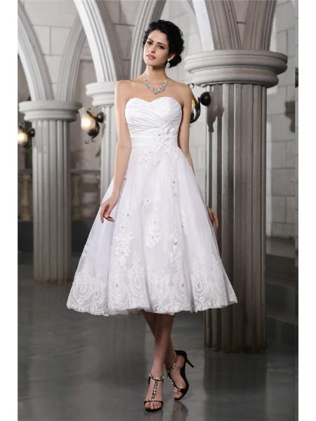 Princesa/Formato A Coração Sem Mangas Missangas Appliques Curtos Tafetá Vestidos de Noiva