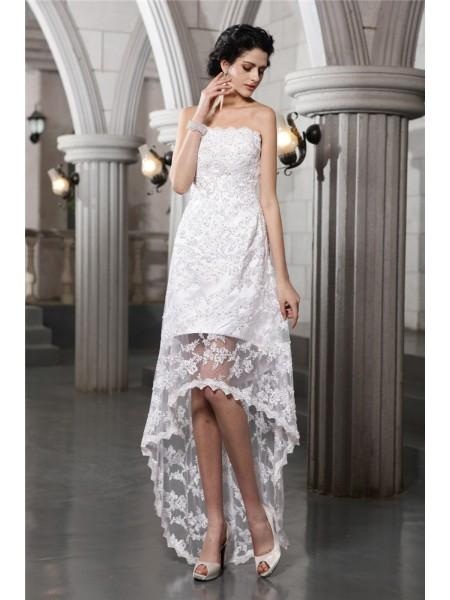 Bainha/Coluna Sem Alça Sem Mangas Missangas Alto-Baixo Renda Vestidos de Noiva