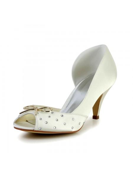 Mulheres Bonita Cetim Cone Heel Imitação de Diamante Marfim Casamento Sapatos