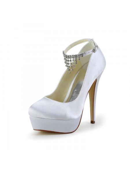 Mulheres Bonita Cetim Stiletto Heel Dedo do pé fechado com Imitação de Diamante Branco Casamento Sapatos