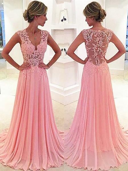 Princesa/Formato A Sem Mangas Chiffon Renda Decote em V Com cauda/Arrastar Vestidos