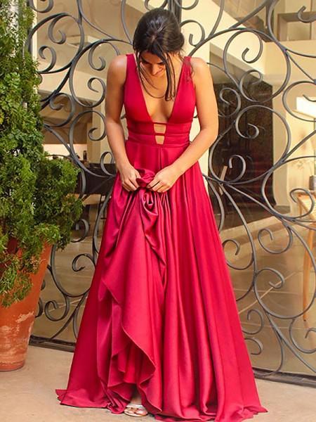 Princesa/Formato A Decote em V Sem Mangas Com cauda/Arrastar Folhos Cetim Esticado Vestidos