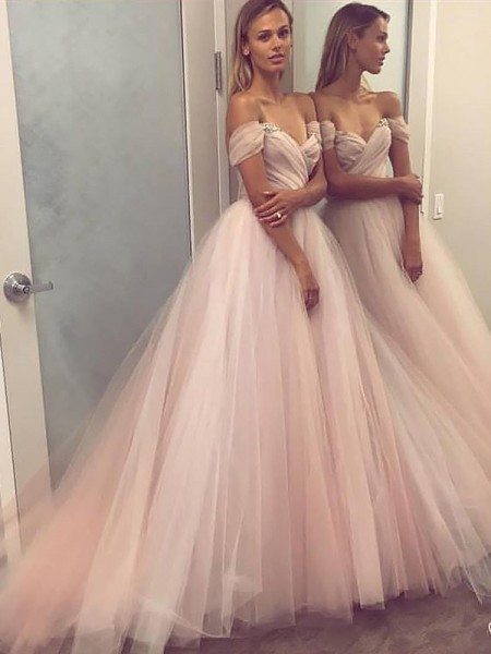 Princesa/Formato A Ombro a Ombro Tule Missangas Com cauda/Arrastar Vestidos