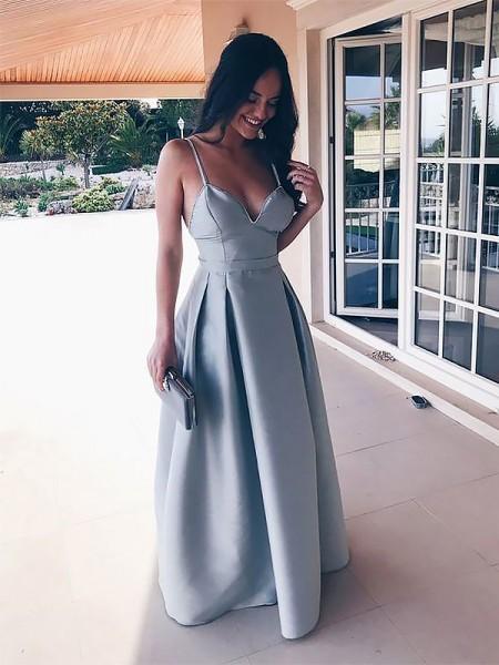 A-Line Alças Finas Sem Mangas Até ao chão com Folhos Cetim Vestidos