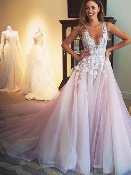 Princesa/Formato A Decote em V Com cauda/Arrastar Tule Sem Mangas Appliques Vestidos