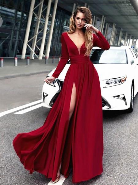 Princesa/Formato A Decote em V Até ao chão Folhos Cetim Vestidos