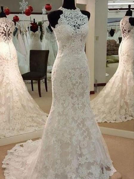 Bainha/Coluna Sem Mangas Decote e costas em U Appliques Renda Vestidos de Noiva