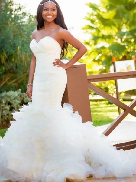 Trompete/Sereia Sem Mangas Cauda Média Organza Vestidos de Noiva