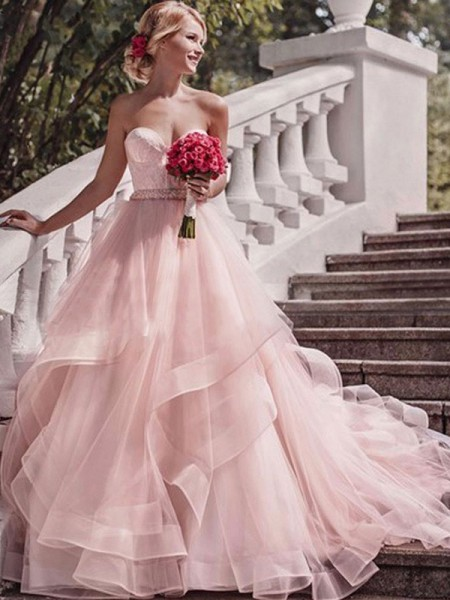 De Baile Sem Mangas Cauda Média Camadas Organza Vestidos de Noiva