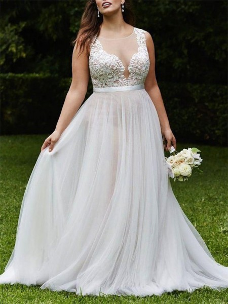 Princesa/Formato A Decote e costas em U Cauda Média Sem Mangas Renda Tule Vestidos de Noiva
