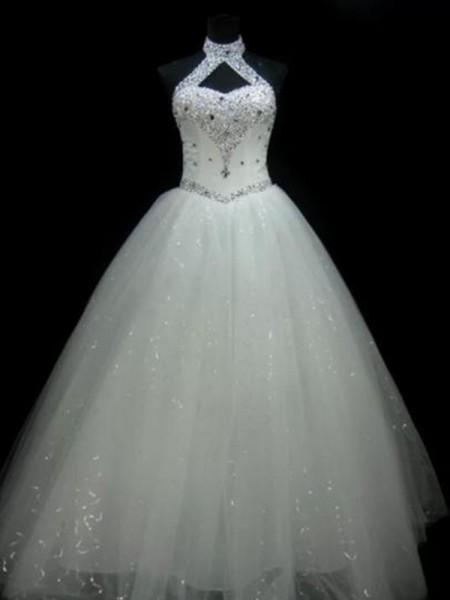 De Baile Halter Sem Mangas Até ao chão Missangas Paetês Tule Vestidos de Noiva