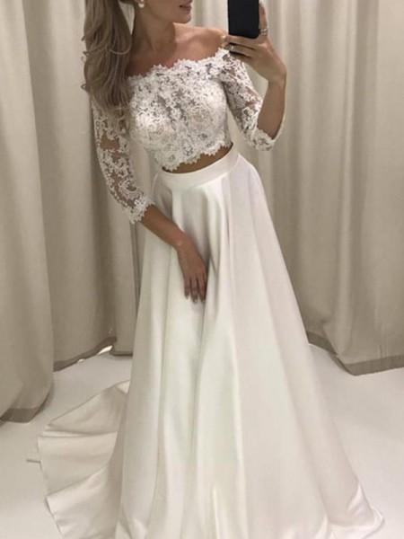 Princesa/Formato A Luva de Comprimento de 3/4 Cauda Média Appliques Cetim Vestidos de Noiva