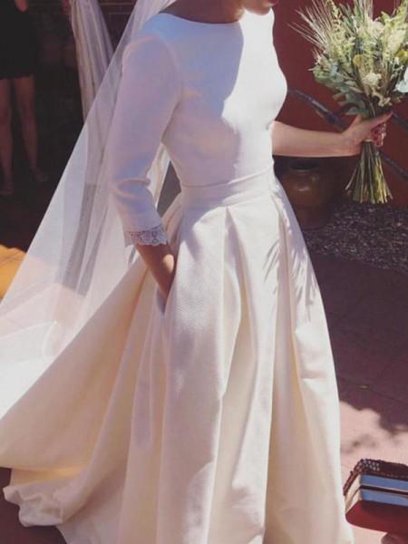 Princesa/Formato A Luva de Comprimento de 3/4 Decote e costas em U Folhos Cetim Vestidos de Noiva