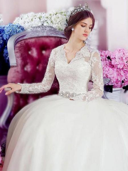 Princesa/Formato A Manga Comprida Decote em V Cauda Catedral Appliques Renda Tule Vestidos de Noiva