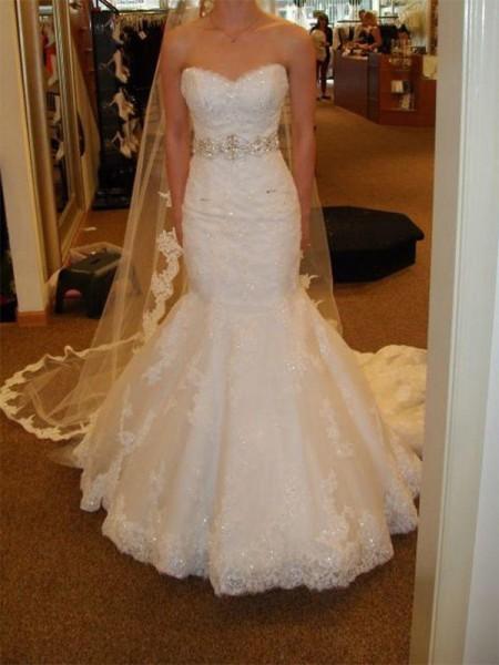 Trompete/Sereia Sem Mangas Cauda Média Renda Tule Vestidos de Noiva