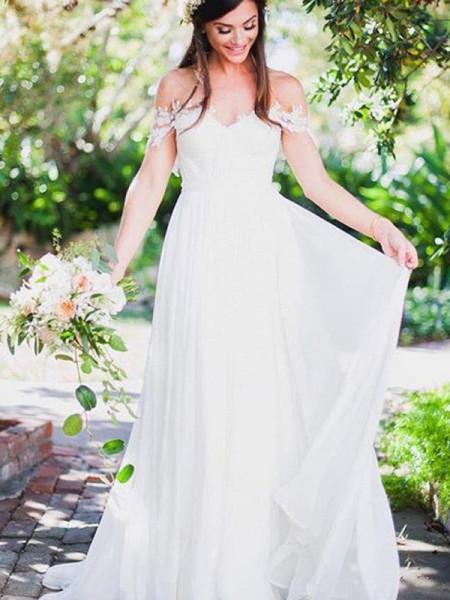 Princesa/Formato A Sem Mangas Appliques Renda Chiffon Vestidos de Noiva
