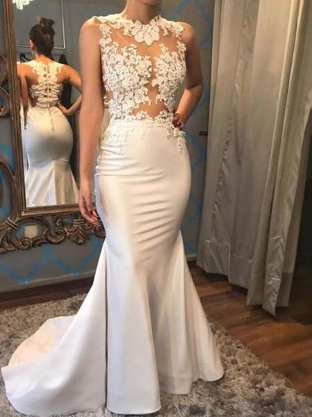 Trompete/Sereia Sem Mangas Decote e costas em U Cauda Média Appliques Cetim Vestidos de Noiva