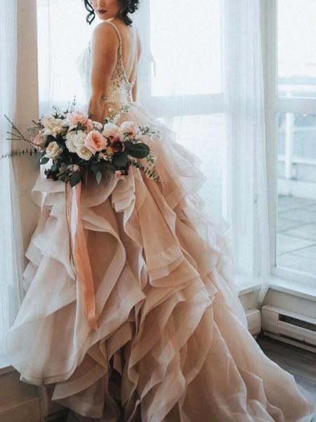 Princesa/Formato A Sem Mangas Folhos Renda Organza Vestidos de Noiva
