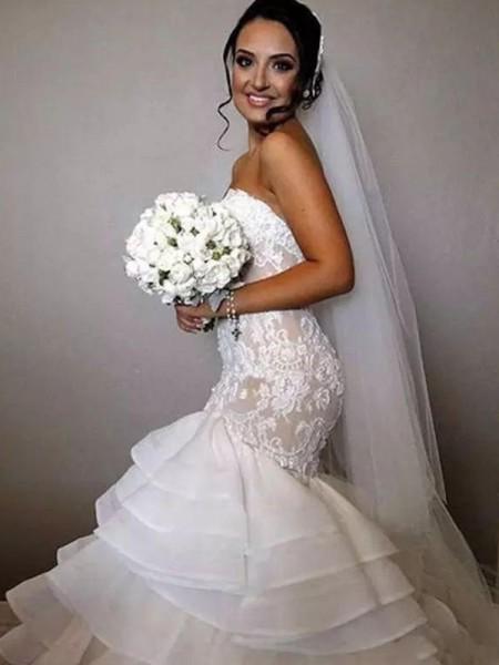 Trompete/Sereia Sem Mangas Cauda Longaa Folhos Appliques Renda Organza Vestidos de Noiva