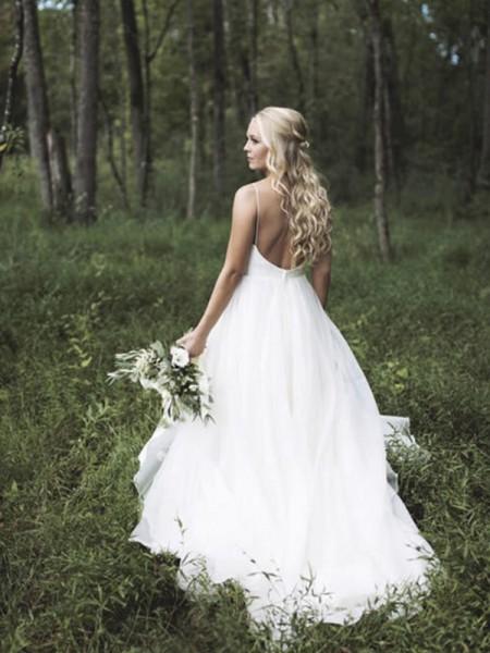 Princesa/Formato A Sem Mangas Decote em V Cauda Média Renda Organza Vestidos de Noiva