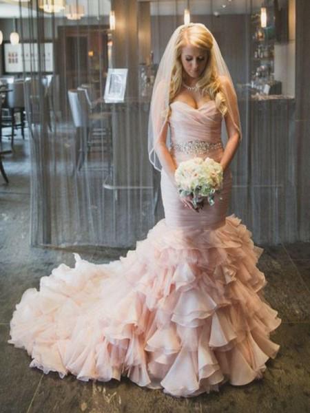 Trompete/Sereia Sem Mangas Cauda Média Folhos Organza Vestidos de Noiva