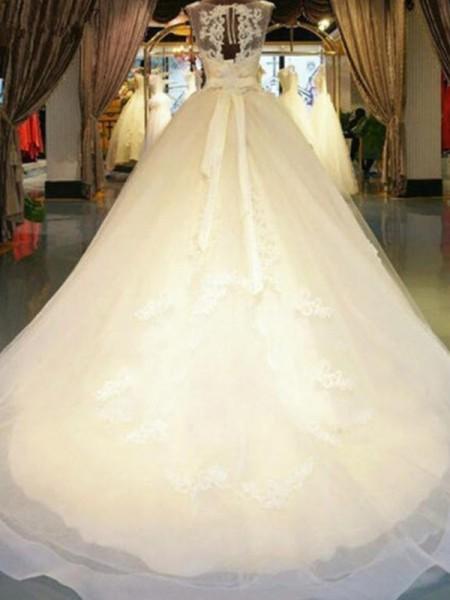De Baile Sem Mangas Missangas Appliques Renda Vestidos de Noiva