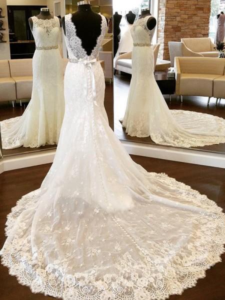 Bainha/Coluna Renda Decote e costas em U Sem Mangas Laço Cauda Longaa Vestidos de Noiva