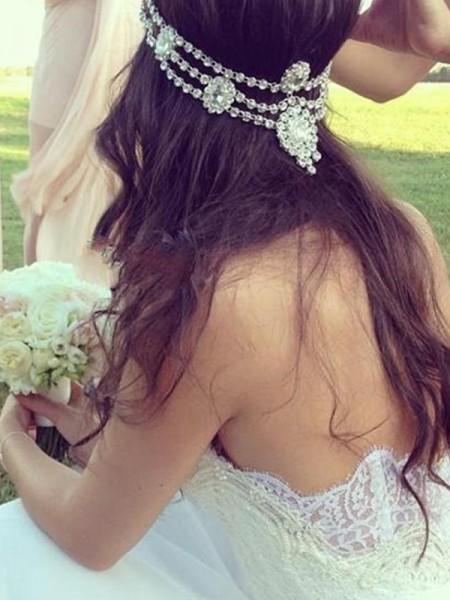 Princesa/Formato A Coração Sem Mangas Tule Renda Cauda Média Vestidos de Noiva