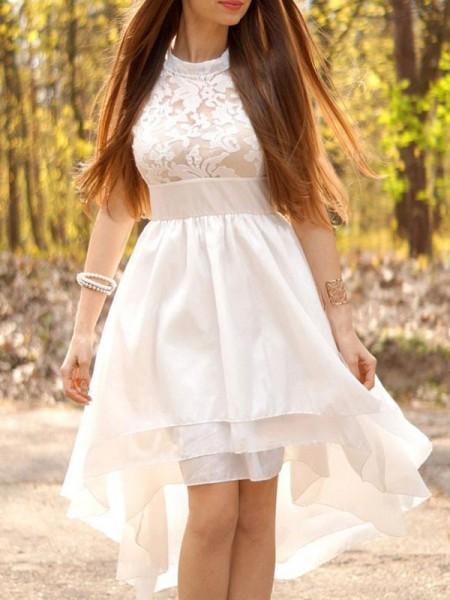 Princesa/Formato A Chiffon Halter Assimétrico Sem Mangas Vestidos de Noiva