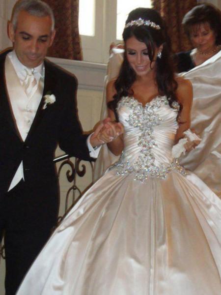 De Baile Tafetá Coração Sem Mangas Cauda Catedral Vestidos de Noiva