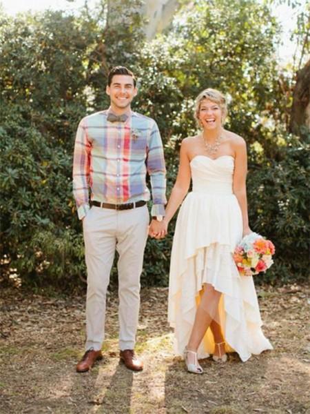 Princesa/Formato A Chiffon Coração Sem Mangas Assimétrico Vestidos de Noiva