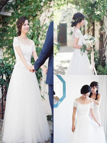 Princesa/Formato A Tule Renda Manga Curta Com cauda/Arrastar Vestidos de Noiva