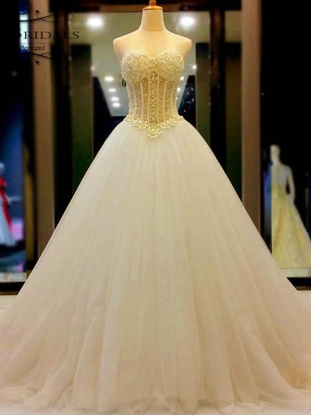 De Baile Coração Tule Missangas Cauda Média Sem Mangas Vestidos de Noiva