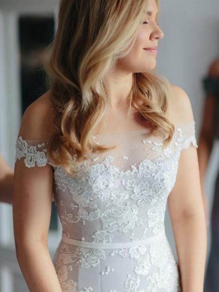 Trompete/Sereia Renda Tule Sem Mangas Cauda Média Vestidos de Noiva