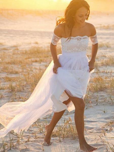 Princesa/Formato A Chiffon Sem Mangas Renda Até ao chão Vestidos de Noiva