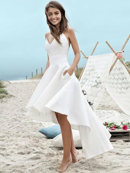 Princesa/Formato A Cetim Sem Mangas Alças Finas Assimétrico Vestidos de Noiva