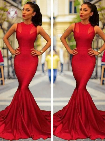 Trompete/Sereia Sem Mangas Decote Vermelhoondo Cauda Média Cetim Esticado Vestidos