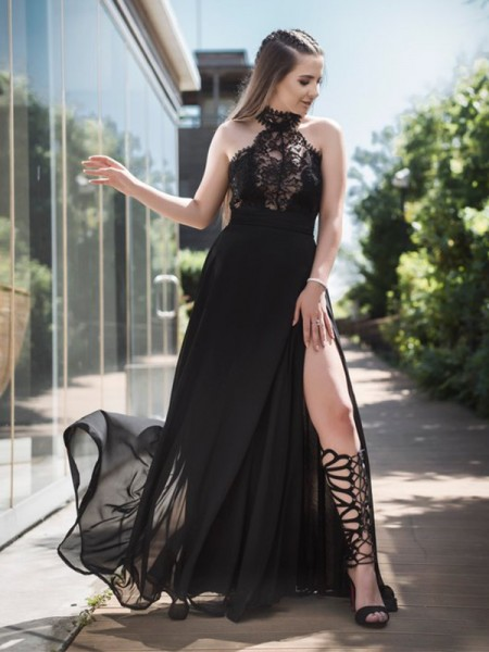 Princesa/Formato A Sem Mangas Até ao chão Renda Tule Vestidos