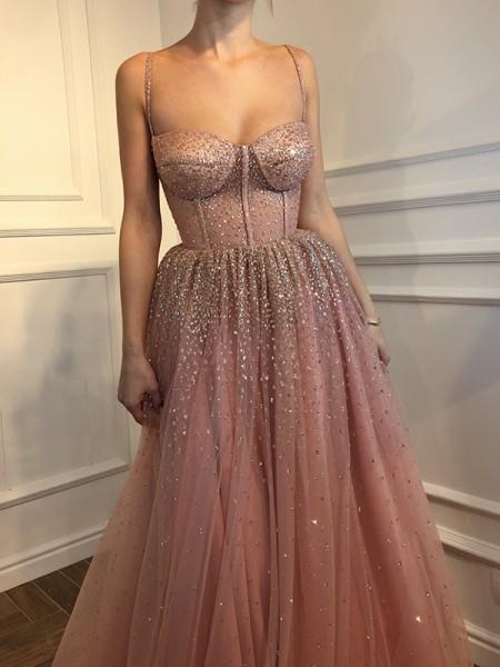 Princesa/Formato A Sem Mangas Até ao chão Alças Finas Tule Vestidos