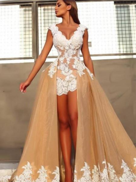 Princesa/Formato A Sem Mangas Decote em V Com cauda/Arrastar Renda Organza Vestidos