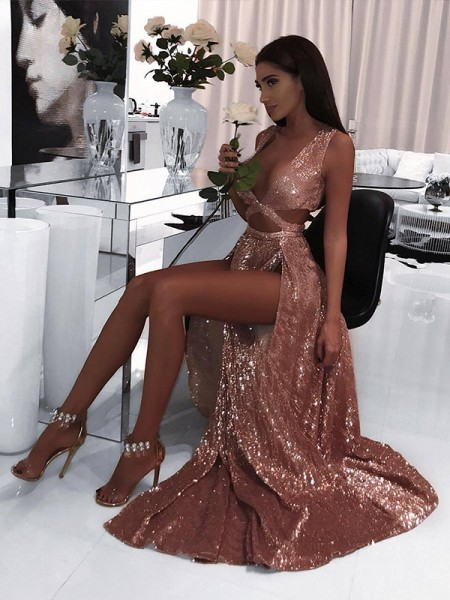 Princesa/Formato A Sem Mangas Decote em V Até ao chão Folhos Paetêss Vestidos