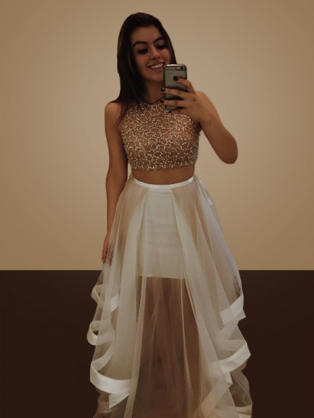 Princesa/Formato A Sem Mangas Até ao chão Missangas Organza Vestidos de Festa Dois Pedaços