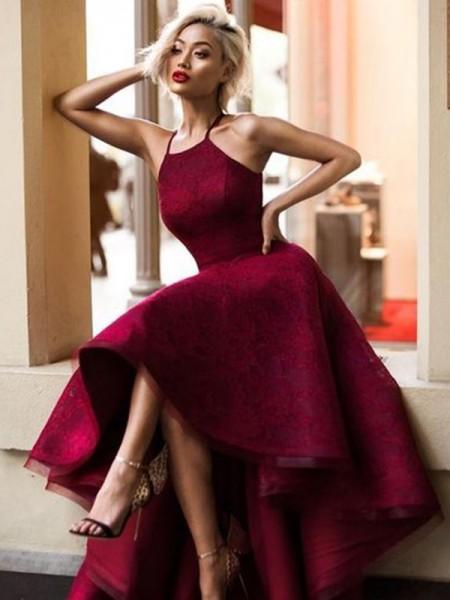 Princesa/Formato A Sem Mangas Assimétrico Decote Vermelhoondo Folhos Renda Vestidos