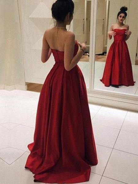Princesa/Formato A Sem Mangas Sem Alça Com cauda/Arrastar Folhos Cetim Vestidos